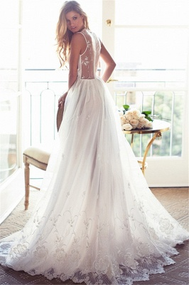 Sleeveless V-Neck Appliques Lace Glamorous A-Line Princess Wedding Dress_4