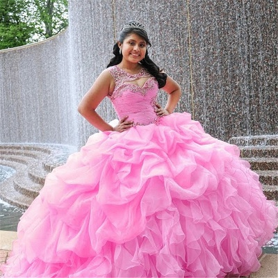 Attractive Pink Jewel Beadings Sleeveless Sweet 16 Dresses | Ruffles Ball Gown Quince Dresses Long_1