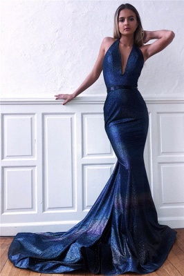 Chic Sequins Sleeveless V-Neck Backless Mermaid Prom Dress_1