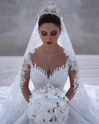Exquisite Sweetheart Long Sleeves Beading Lace Wedding Dress_2