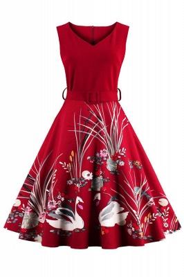 Alluring V-neck Belted Fashion Dresses   Knee-Length Women's Dresses_1