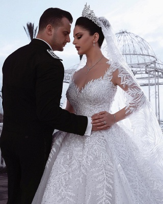 Exquisite Sweetheart Long Sleeves Beading Lace Wedding Dress_3