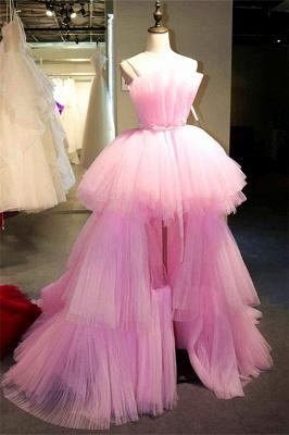 Stylish Hi-Lo Tulle Strapless Sleeveless Evening Dress_1