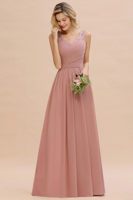 Cheap A-line Chiffon Lace V-Neck Ruffles Bridesmaid Dress in Stock_13