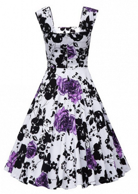 Fascinating Square A-line Knee-Length Floral Dresses   Cap-Sleeves Women's Dresses_7