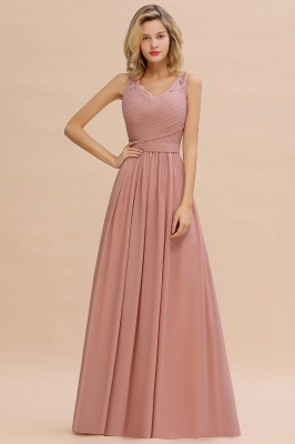 Cheap A-line Chiffon Lace V-Neck Ruffles Bridesmaid Dress in Stock_12