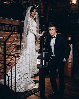 Tulle Lace Long-Sleeves V-Neck Long Mermaid Wedding Dress_2