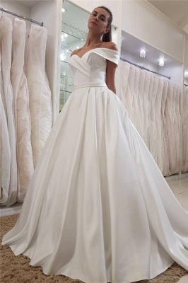 Simple Off-the-Shoulder Sweetheart  Ruffles Long Wedding Dress_1