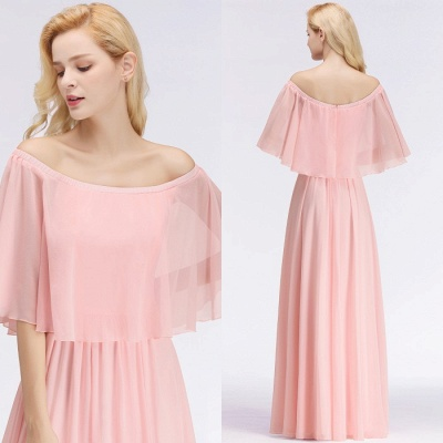 Chiffon Pink Cheap Off-the-Shoulder Bridesmaid Dresses_1