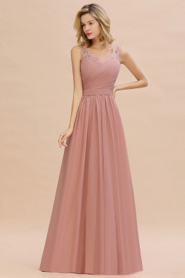 Simple V-neck Sleeveless Long Prom Dresses with soft Pleats_9