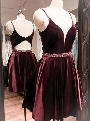 Sexy Purple Homecoming Dresses Spaghettis Straps Beaded Velvet Cocktail Dress_7