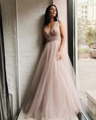 Tulle V-Neck Beading Long Evening Dress_4