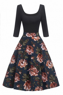 Attractive Scoop 3/4-Length-Sleeves Fashion Dresses | Floral Women's Dresses_1