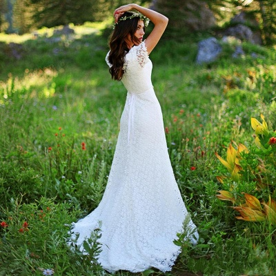 Timeless  Short-Sleeves Sheath Lace Appliques Wedding Dress_4