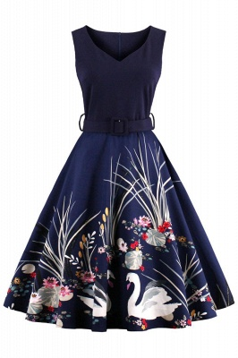 Alluring V-neck Belted Fashion Dresses   Knee-Length Women's Dresses_2