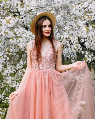 Wonderful Tulle Beading V-Neck Pink Evening Dress_2