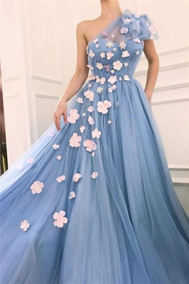 Chic Tulle One-Shoulder Flowers Long Evening Dress_2