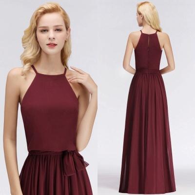 Chiffon A-Line Burgundy Simple Cheap Bridesmaid Dress_1