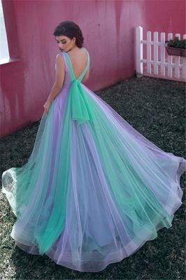 Stylish Tulle V-Neck Straps Evening Dress_2
