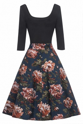 Attractive Scoop 3/4-Length-Sleeves Fashion Dresses | Floral Women's Dresses_4
