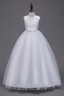 Elegant Jewel Lace Flowergirl Dresses | Bow Sleeveless Children Dresses_1