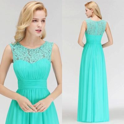 Long Lace Sleeveless Chiffon Scoop Elegant Bridesmaid Dress_2