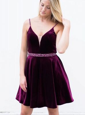 Sexy Purple Homecoming Dresses Spaghettis Straps Beaded Velvet Cocktail Dress_4