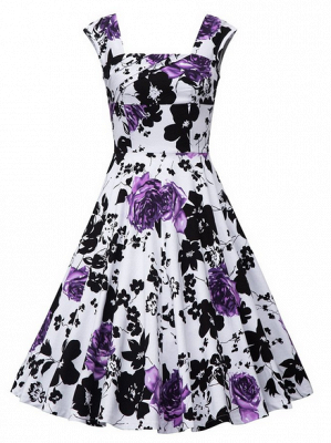 Fascinating Square A-line Knee-Length Floral Dresses   Cap-Sleeves Women's Dresses_5