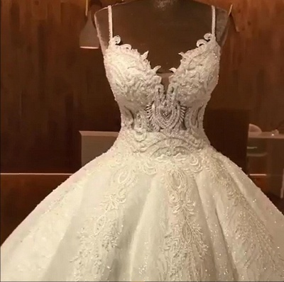 Stunning Ball Gown Wedding Dresses | Spaghetti Straps Lace Bridal Gown_4
