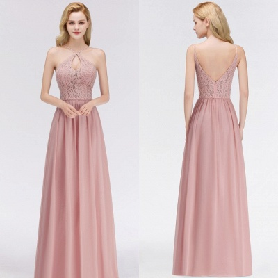 Halter Floor-Length Keyhole Lace Chiffon Long Bridesmaid Dress_2