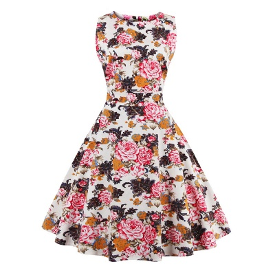 Glorious Jewel Sleeveless A-line Fashion Belted Dresses | Floral Knee-Length Women's Dress_6