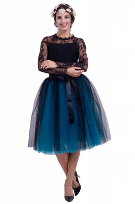 Glorious Tulle Knee-Length Ball-Gown Skirts | Elastic Bowknot Women's Skirts_4
