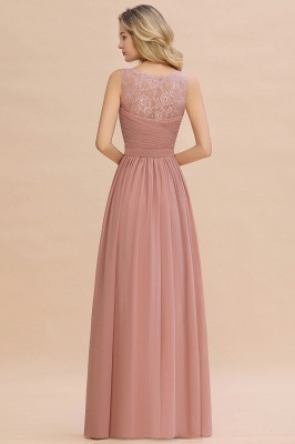 Cheap A-line Chiffon Lace V-Neck Ruffles Bridesmaid Dress in Stock_15
