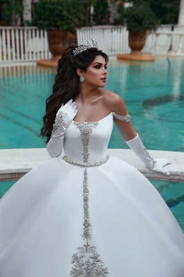 Stunning Ball Gown Off-the-Shoulder Appliques Wedding Dress_2