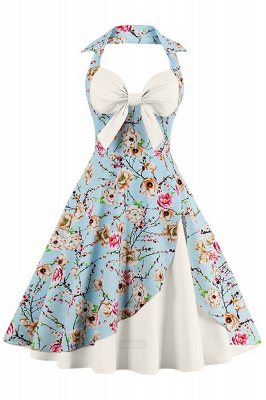 Brilliant Halter Sexy Flowers Fashion Dresses | Bow Women's Dresses_1
