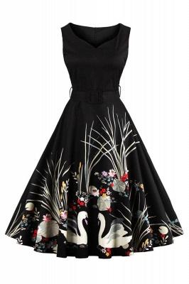 Alluring V-neck Belted Fashion Dresses   Knee-Length Women's Dresses_3