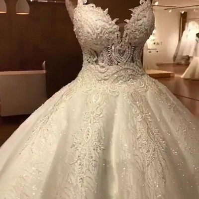 Stunning Ball Gown Wedding Dresses | Spaghetti Straps Lace Bridal Gown_6