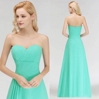 Elegant Ruched Sweetheart Long Chiffon Bridesmaid Dress_3