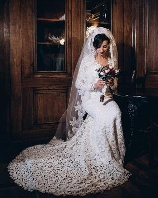 Tulle Lace Long-Sleeves V-Neck Long Mermaid Wedding Dress_1