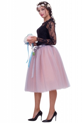 Glorious Tulle Knee-Length Ball-Gown Skirts | Elastic Bowknot Women's Skirts_2