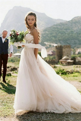 Simple Strapless Sweetheart A-Line Appliques Wedding Dress_1