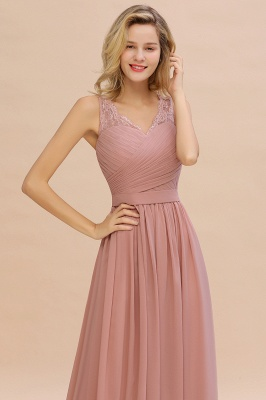 Simple V-neck Sleeveless Long Prom Dresses with soft Pleats_13