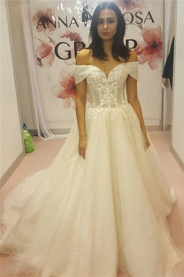 Off-the-Shoulder Sweetheart Lace Appliques Wedding Dress_1