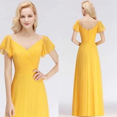 Yellow Floor-length Simple Cheap Short-Sleeve Bridesmaid Dress_1
