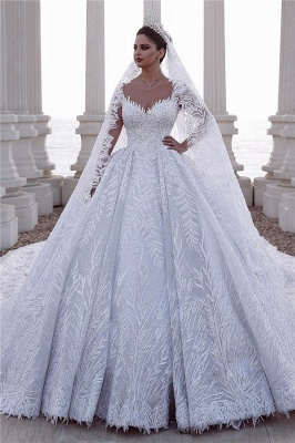 Exquisite Sweetheart Long Sleeves Beading Lace Wedding Dress_1
