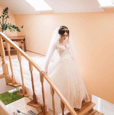 Glamorous Sleeveless V-Neck Lace Appliques Wedding Dresses_6