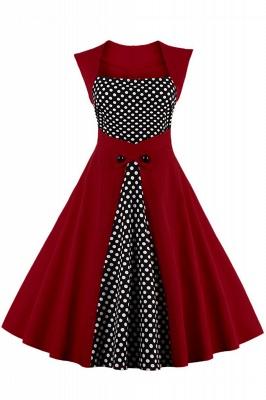 Amazing Polk-Dot Scoop Sleeveless A-line Pleats Fashion Dresses | Knee-Length Women's Dresses_2
