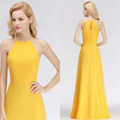 Chiffon Long Sheath Fashion Yellow Sleeveless Bridesmaids Dresses_1