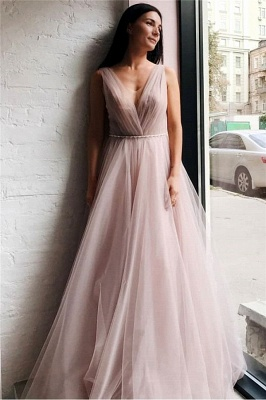 Tulle V-Neck Beading Long Evening Dress_1