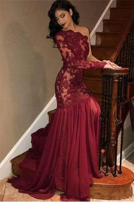 Sexy Tulle Lace One-Shoulder Long Sleeve Burgundy Evening Dress_1